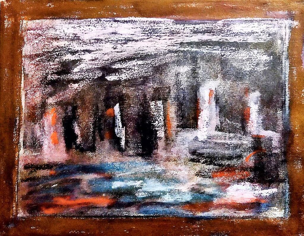 An old pastel work that was almost entirely gray. The gray absorbed most of the new color but shining the right light on this one reveals an interesting abstract work.