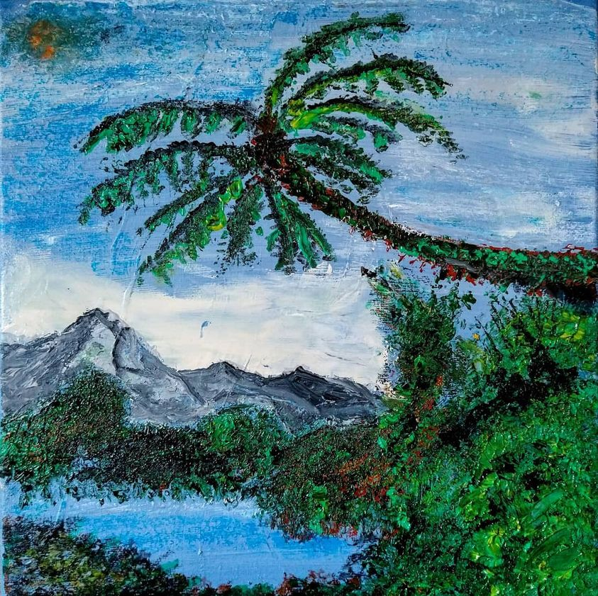 Combining Mountain And Tropical Scape.