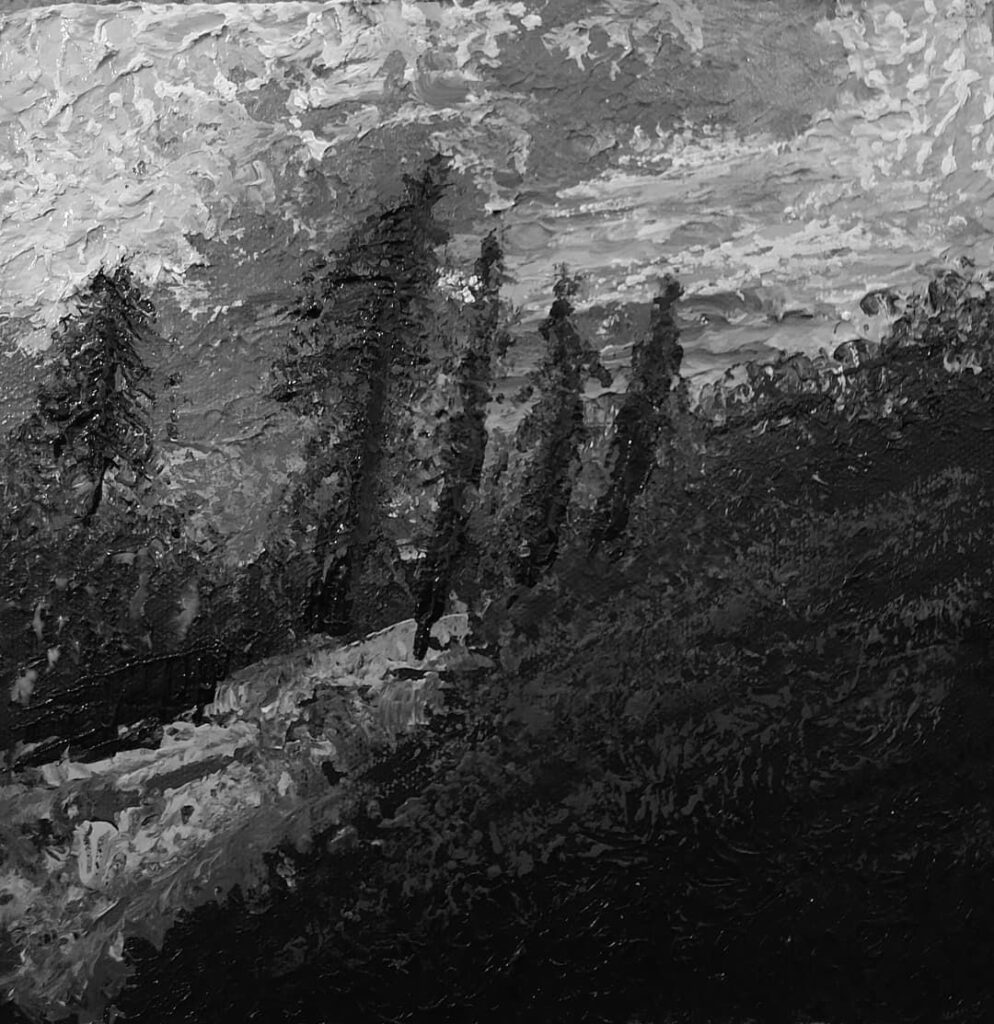 Same painting as above. Just converted to grayscale.